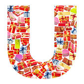 U Letter - Alphabet made of giftboxes — Stock Photo