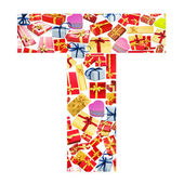 T Letter - Alphabet made of giftboxes — Stock Photo
