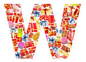 W Letter - Alphabet made of giftboxes — Stock Photo