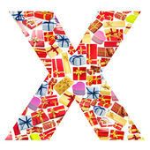 X Letter - Alphabet made of giftboxes — Stock Photo