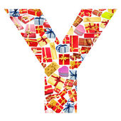 Y Letter - Alphabet made of giftboxes — Stock Photo