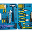Toolkit with many tools isolated on white — Stock Photo