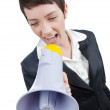 Young business lady screaming to loudspeaker — ストック写真
