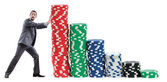 Businessman and casino chips on white — Stock Photo