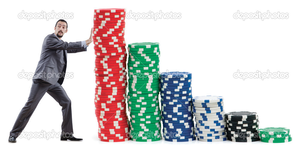 Businessman and casino chips on white — Stock Photo #10324753