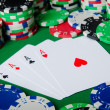 Many cards and casino chips - Foto de Stock