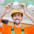 Electrician working on cabling lighting — Stock Photo #10452670