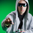 Stock Photo: Player in casino and chips