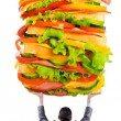Man and giant sandwich on white — Stock Photo #10573392