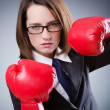 Young businesswomin boxing concept — Foto de stock #10573651