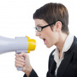 Young business lady screaming to loudspeaker — Stock Photo