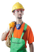 Construction worker isolated on white — Stock Photo