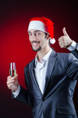 Businessman celebrating christmas holidays — Stock Photo
