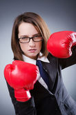 Giovane imprenditrice nel concetto di boxe — Foto Stock