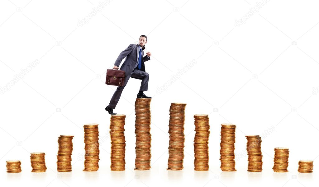 Businessman climbing gold coins stacks — Stock Photo #10573448
