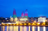 Baku Azerbaijan at Caspian sea- night photo — Stock Photo