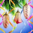 Baubles on christmas tree in celebration concept — Stock Photo #7968569