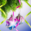Baubles on christmas tree in celebration concept - Stock Photo