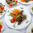 Meals served on party table — Stock Photo #7968608