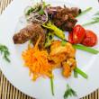Plate with tasty lamp kebabs — Foto Stock