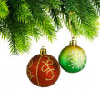 Christmas concept with baubles on white — Stock Photo