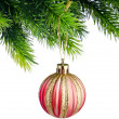 Christmas concept with baubles on white - Stock fotografie