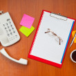 Desk top with many items — Stock Photo #7968910