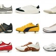 Various shoes isolated on the white — Stock Photo