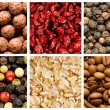 Selection of various food backgrounds - Stock Photo