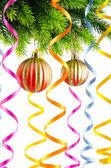 Weihnachtsdekoration auf der weißen — Stockfoto