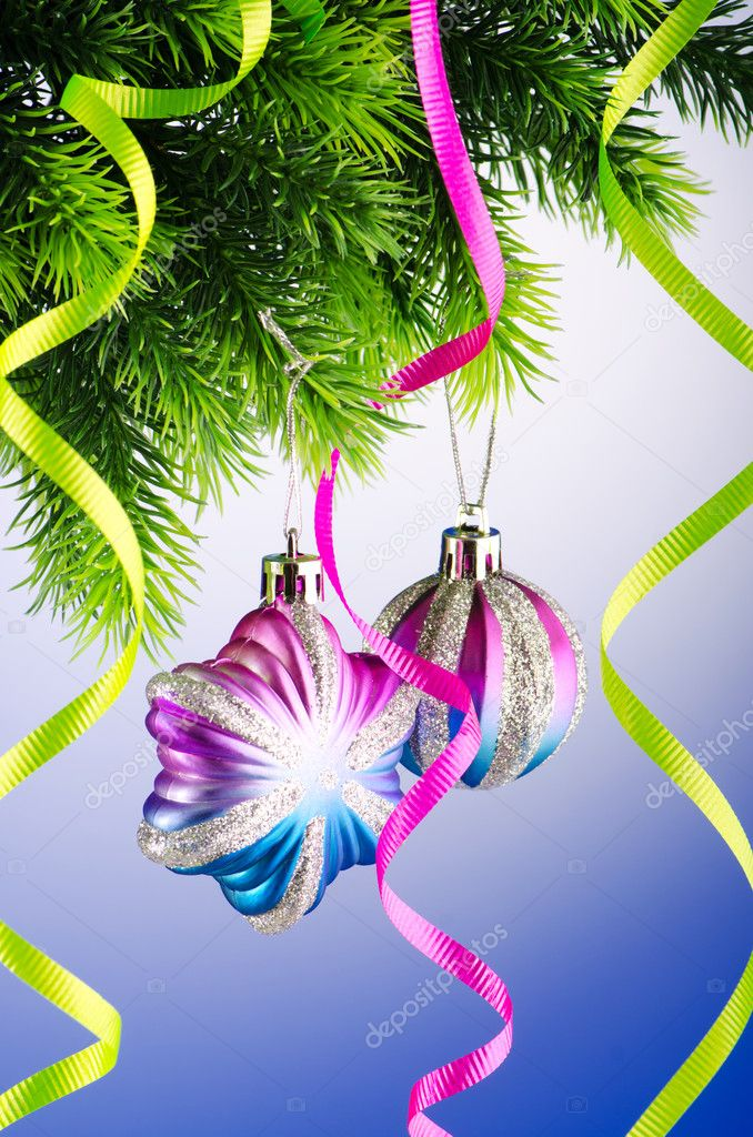 Baubles on christmas tree in celebration concept — Stock Photo #7968577