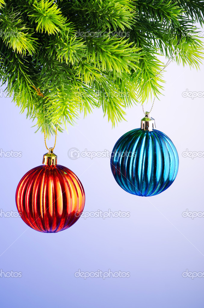 Baubles on christmas tree in celebration concept  Stock Photo #7968591