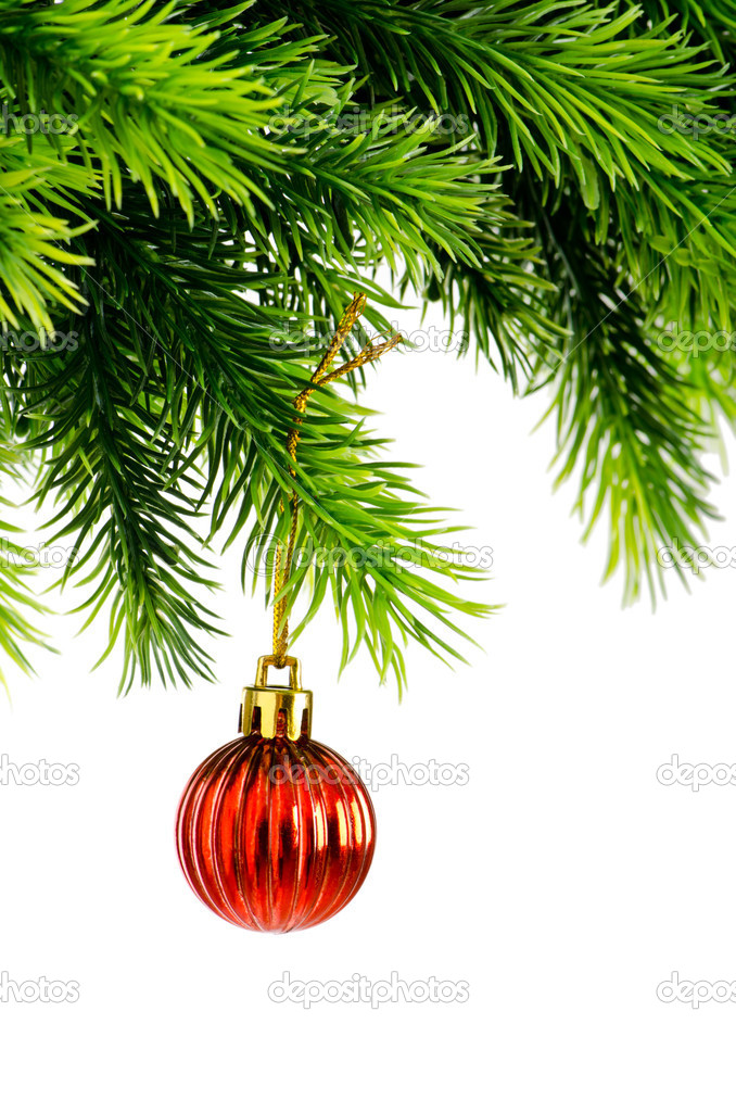 Christmas concept with baubles on white  Stock Photo #7968680