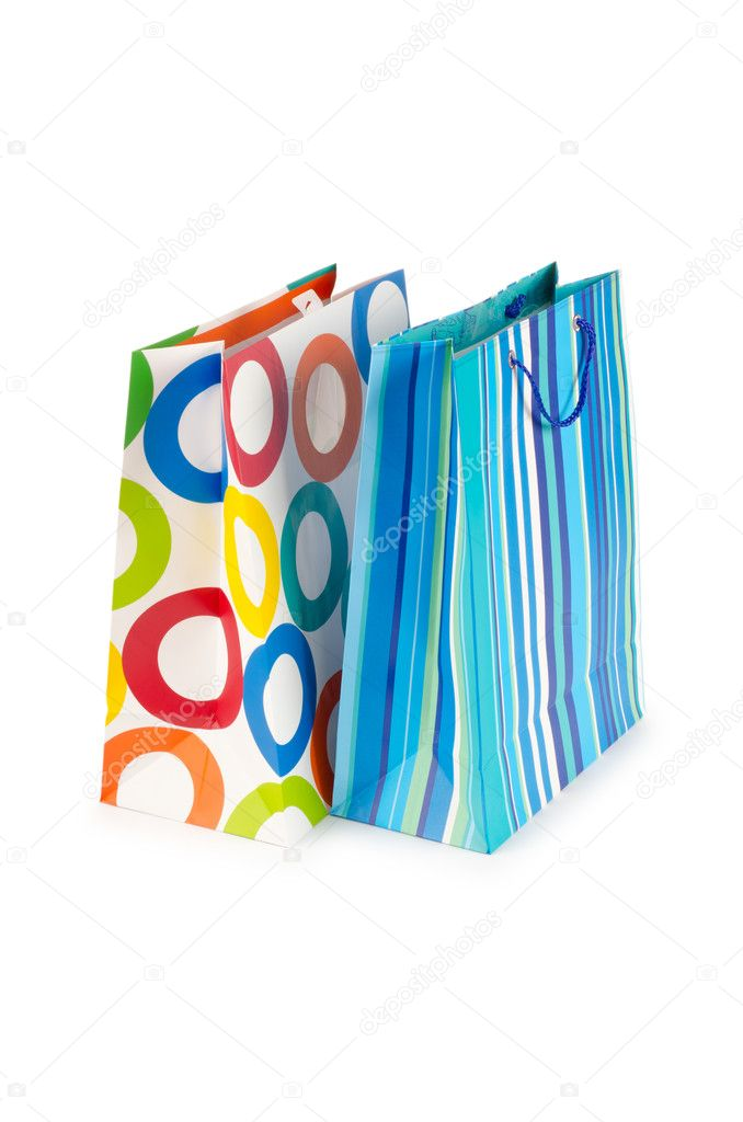 Shopping concept with bag on white — Stock Photo #7969130