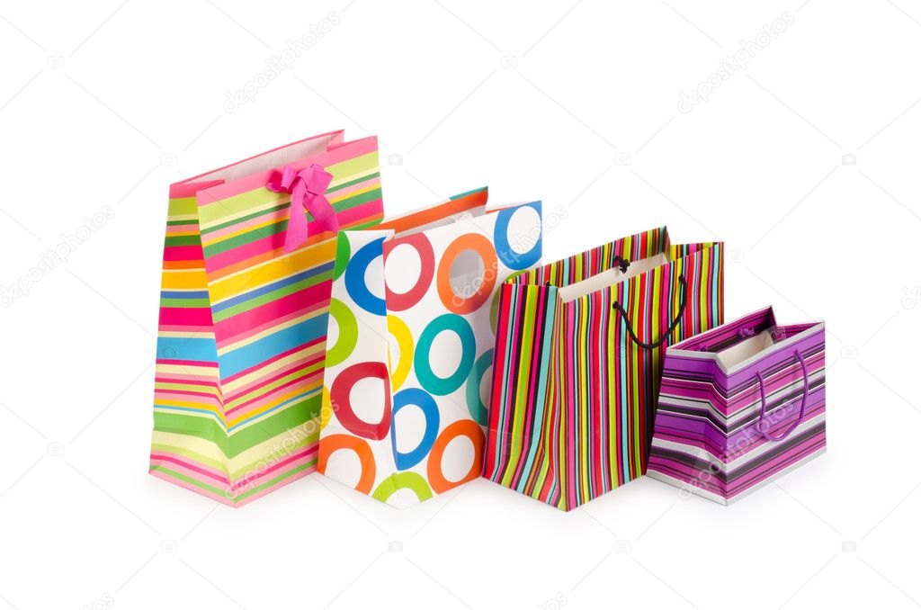 Shopping concept with bag on white — Stock Photo #7969139