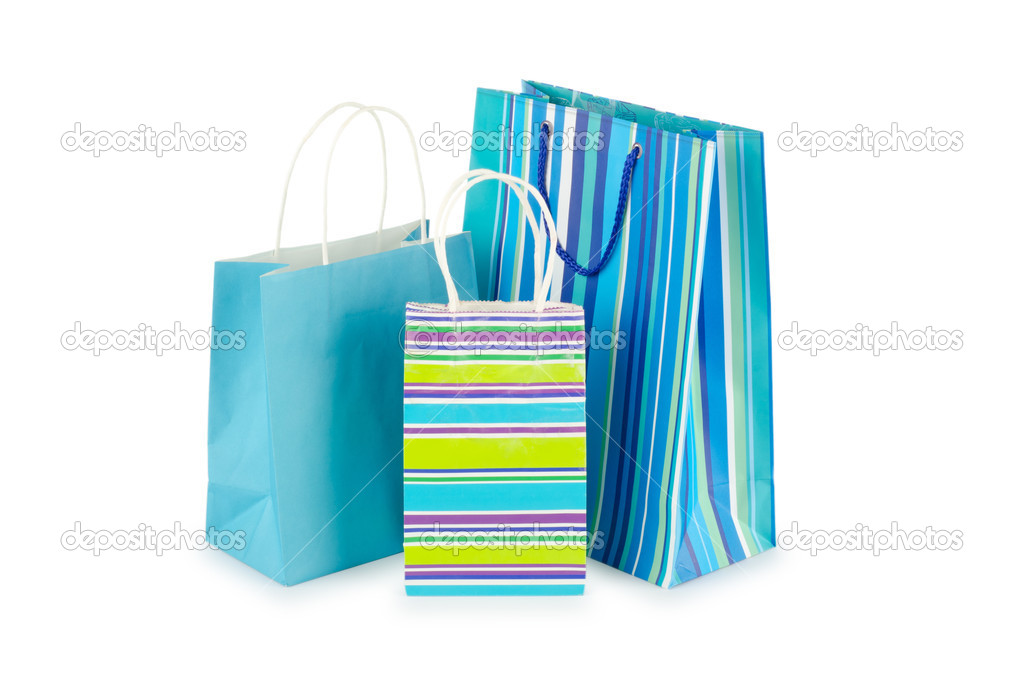 Shopping concept with bag on white — Stock Photo #7969162