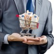 Shopping cart full of money - Stock Photo