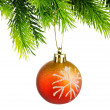 Foto de Stock  : Christmas concept with baubles on white
