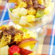 Fruit dessert in the plate — Stockfoto