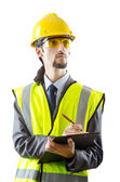 Man with hard hat on white — Stock Photo