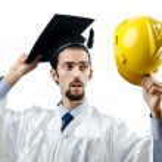 Graduate thinking of construction industry — Stock Photo #8126291