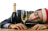 Drunken businessman after office christmas party — Stock Photo