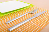 Served table with fork and knife — Stock Photo