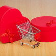 natale shopping concetto con carrello — Foto Stock