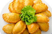 Patties stuffed with meat in the plate — ストック写真