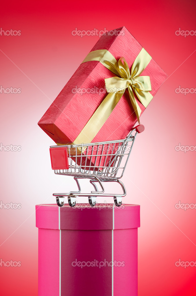 Christmas shopping concept with shopping cart — Stock Photo #8746438