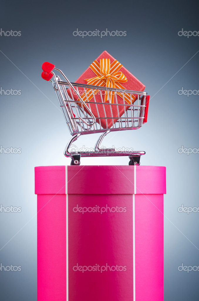 Christmas shopping concept with shopping cart — Stock Photo #8746531
