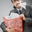 Man with lots of wasted paper — Foto de Stock