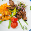 Plate with tasty lamp kebabs — Stockfoto