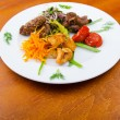 Plate with tasty lamp kebabs — Stock fotografie #8762124